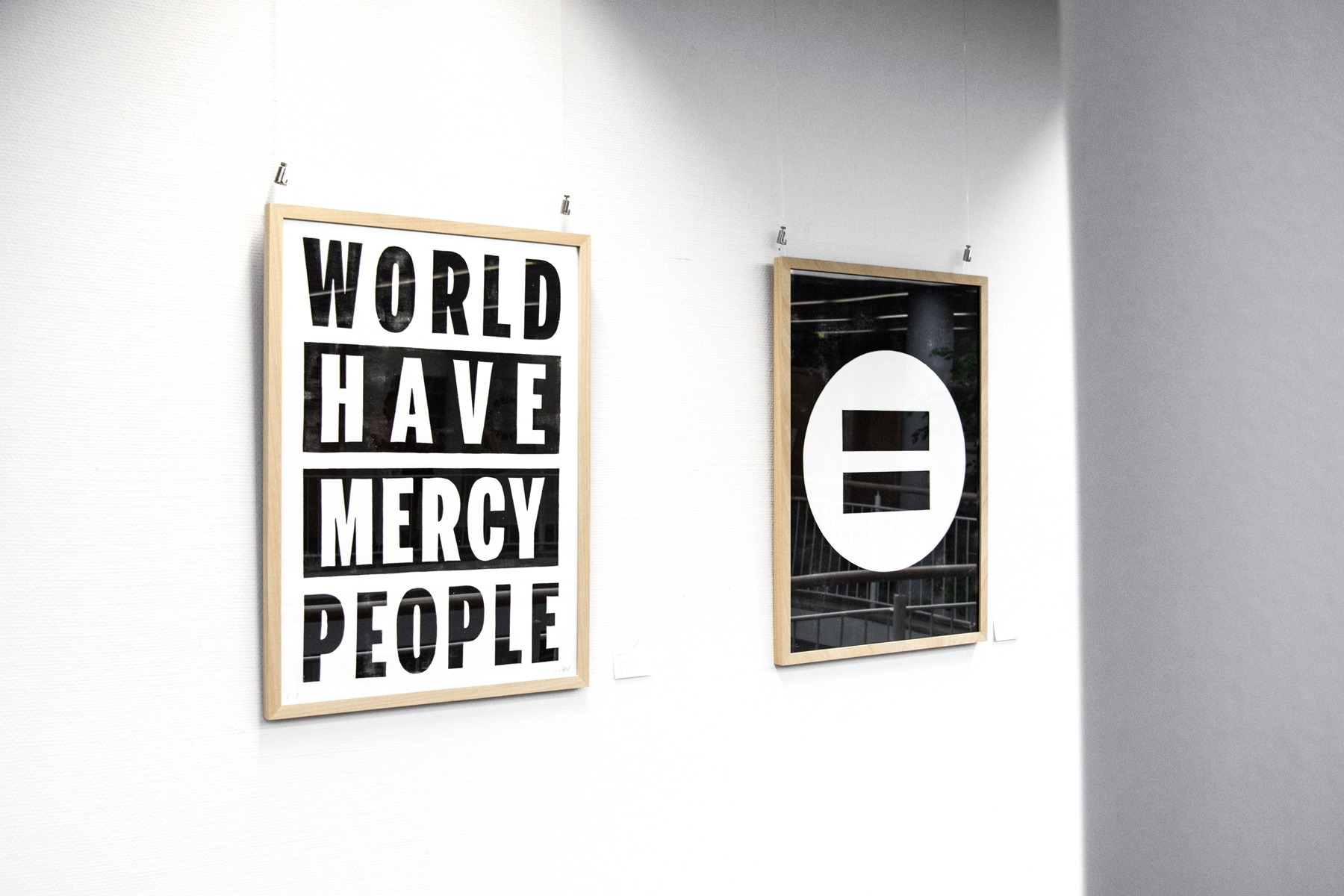 Prints Earth poster and Equality in Unity shown at a solo exhibition of Tanja Oppel